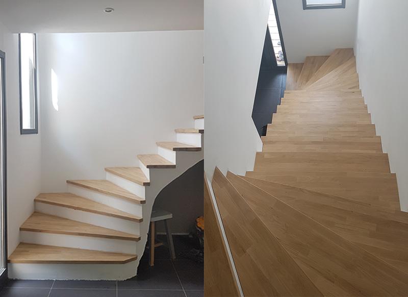 menuisier damibois habillage marches escalier orx. Black Bedroom Furniture Sets. Home Design Ideas